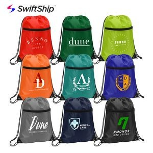 Reinforced Polyester Drawstring Backpack with Top Zipper
